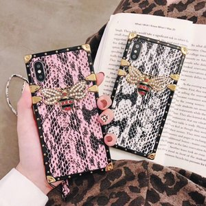 Luxury square 3D bee phone case for iphone11 pro max 7 8 plus snake cover phone for iphone x xr xs max with lanyard