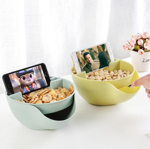 Creative Bowl Double Layer Dry Fruit Containers Snacks Seeds Storage Box Garbage Holder Plate Dish Organizer With Phone holder