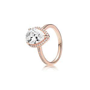Tränen CZ-Diamant 925 Silber Ehering Original Kasten für Pandora 18K Rose Gold Wassertropfen Ringe Set für Frauen