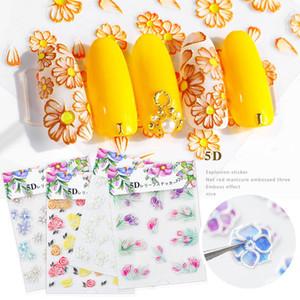 5D Nail art autocollant acrylique Gravé 20 motif fleur Nail Sticker auto-adhésif Nail Art DIY Décoration Rose gaufrée Accessoires Outil