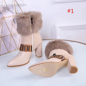 ankle boots das mulheres do inverno coelho novo cabelo Pointy sexy short botas cor correspondente feminina martin casuais botas selvagem antiderrapantes das mulheres calcanhar 8