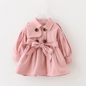 Toddler Kids Girls Solid Ruched Bow Belt Windproof Coat Outwear Casual Clothes Children Girl autumn Winter windbreaker coat