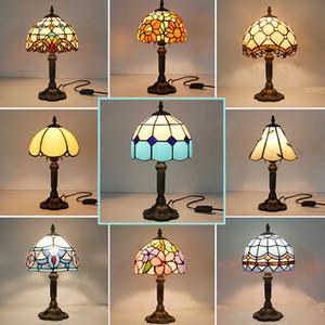 Lámpara de mesa manchado retro cristal de la vendimia turca 110V 220V creativo Arte Turco lámparas mosaico decoración del dormitorio Luz Con Enchufe