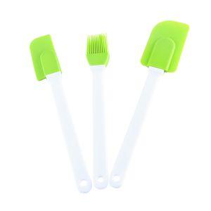 3pcs / Seti Silikon Spatula Krem Kazıyıcı Sos Teyelleme Fırça Yağ Fırçalar Sigara Çubuk Hamur Kürek Pişirme Araçları JK2006 Karıştırma