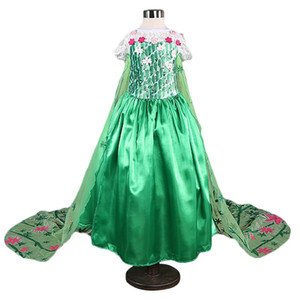 2019 Ragazze vestono Costume Principessa Abiti Cosplay Halloween Party Kid Fancy Baby Girl Xmas Abiti Elza vestidos con corona