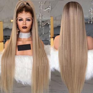 Estoque 30 polegadas longo loira peruca dianteira do laço pré arrancado com o cabelo do bebê Em Linha Reta ombre sintético Cheia Dianteira Do Laço Perucas para as mulheres