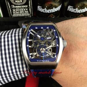 Versão alta Grandes complicações V 45 T GR CS SQT YA Skeleton Dial Caixa de aço de prata Japão Miyota Mens automático Assista a relógios de couro azul