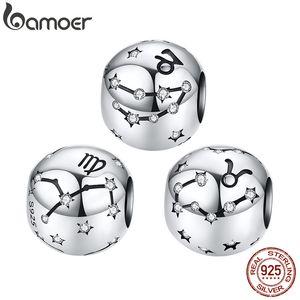 BAMOER Zodiac Taurus Virgo Metal  for Women Charm Bracelet Star Constellation Sterling Silver 925 DIY Jewelry