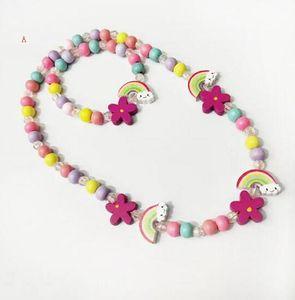 5 개 스타일 아이 목걸이 세트 레인보우 매력 비즈 액세서리 다채로운 구슬 팔찌 새 꽃 아이 소녀 생일 보석 선물