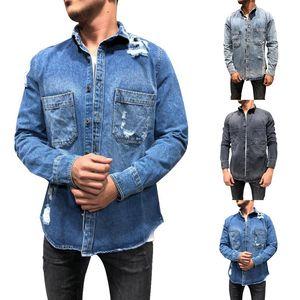 2020 Hot Jeans Brasão Spring Fashion Jeans Coats rasgado Mens Denim Jacket Chaqueta Hombre Homens Streetwear Outwear