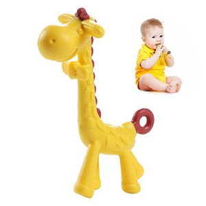 cartoon giraffe shape baby silicone pinkyellow infant teething toy new necklace hanging toy for baby activity baby play