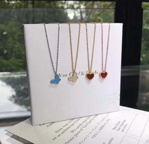 S925 فضة القلائد والمجوهرات فراشة وقلب قلادة هدية عيد الميلاد سيدة الشحن المجاني PS5043