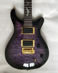 Smith SE Paul Allender Purple Black Acolchado Maple Top Guitarra eléctrica Upgrade Tuners Korea, Pearl Bat Inlay, Floyd Rose Tremolo, EMG Pickups