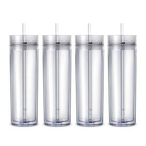 Bicchiere da 16 once Bicchiere da bibita acrilico bicomponente da 6colors Bicchieri in materiale plastico PP copri coperchi in paglia a due strati
