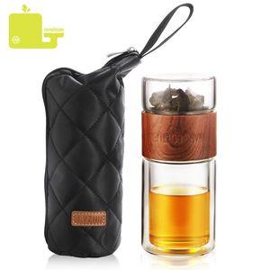 oneisall 200ml garrafa de água de vidro com garrafa Saco alta Borosilicate Tea Duplo Água Infuser Tumbler Copos inteligente Garrafas CJ191225
