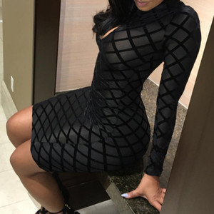 Sexy Party Night Dress Women Black Plaid Sheath Dress Mini Pencil Dresses Long Sleeve High Waist Clubwear Short Dress