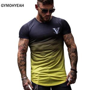 Мода Градиент цвета моды T Shirt Men Быстрое сжатие дышащая мужская с коротким рукавом Фитнес Мужские футболки Спортивные клубы Tee Tight Повседневный Top