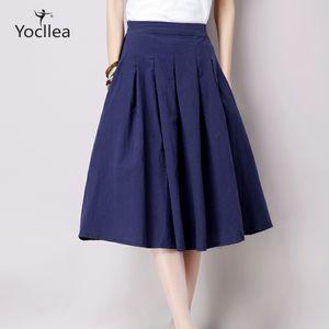 Vintage Yaz Büst Kadınlar Keten Etekler Casual Pileli Katı Renk etekler Moda Kadın giysileri WJ305 Y200326 All-maç etek