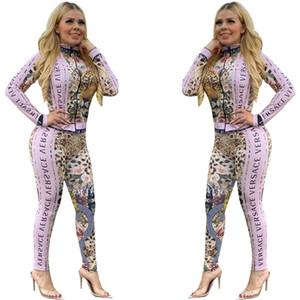 Casuais Set Womens jacket + calças de treino 2020 Primavera Outono Two Piece Set Moda slim impressos Trouses Brasão