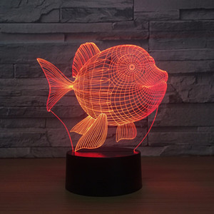 Fish 3D LED Night Light 7 Color Touch Switch Led Lights Plastic Lampshape 3D USB Powered Night Light Atmosphere Novelty Lighting