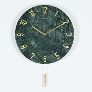 12 Inch Modern Simple Marble Wall Clock Creative Quartz Wall Clock Nordic Creative Home Decoration 30*30cm DHL UPS Shipping