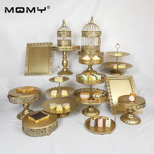 13 pcs Birdcage Tool Cupcake Dessert Metal 3 Tier Plate Party White Set Display Wedding Cake Stand Gold