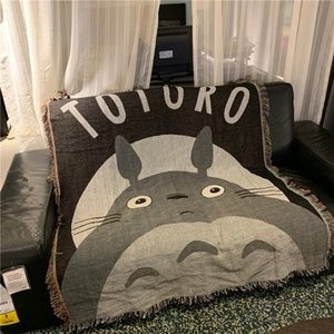 Yvonicky Cartoon Totoro Blanket European Modern Throw Blanket Sofa Cobertor Hanging Tapestry Sofa Bed Travel 125x150cm