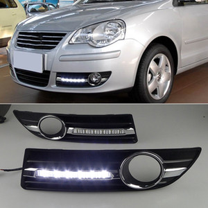 9N3 2005 2006 2007 2008 2010 1 Çifti LED DRL Gündüz Farı Sürüş Daylight lamba araba Şekillendirme İçin Volkswagen Polo
