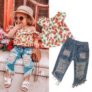 Bambino denim stampato Outfits ragazze Ruffle Ananas Tops fumetto shirt bambini vestiti casuali ragazze foro nappa tasca dei jeans Tute 1-6T 06
