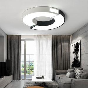 Главная спальня потолочный светильник современный минималистский кольцо квадрат Черный и белый кованого железа светодиодный потолочный светильник исследование ресторан освещение оптом