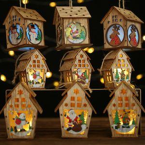 Ev için kolye Merry Christmas Decor Asma Led Işık Ahşap Ev Noel ağacı Dekorasyon Elk Noel Baba Kardan adam