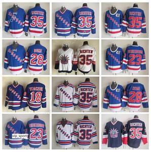 New York Rangers Vintage 35 Mike Richter Forması Erkekler Buz Hokeyi 28 Kravat Domi Jeff Beukeboom Walt Tkaczuk Formalar Mavi Beyaz