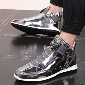 Mode brillant Glitter cuir Chaussures Hommes Casual Or Argent Leopard Head Décoration Homme entraînement Chaussures High Top Slip On Sneakers