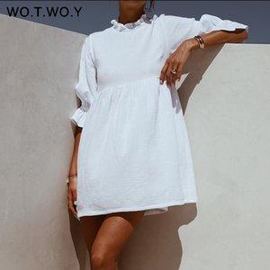 WOTWOY Summer Ruffles Loose T Shirt Dress Women Lantern Sleeves Casual White Dresses Women Cotton Mini Vestidos Bohemios 2020 MX200518