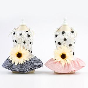 애완 동물 의류 새로운 여름 양 꽃 스커트 면화 개 편안한 공주 드레스 재고 있음