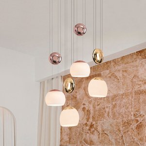 Pendant nordic light living room hanging light restaurant headboard creative designer lifting glass three-heads pendant lamp