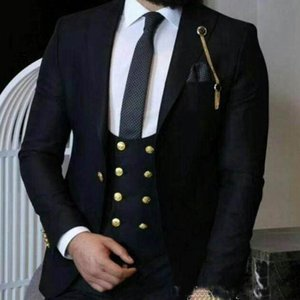 Black Men Wedding Tuxedos Peak Lapel One Button Groom Tuxedos Excellent Men Jacket Blazer Traje de 3 piezas (Jacket + Pants + Vest)
