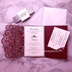 Bourgogne Invitations de mariage Silver Glitter Laser Cut Cut Cartes avec courroie et étiquette pour une douche de mariée Quinceanera Invite wfvp carte