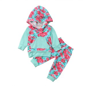 Cotone Moda floreale 2pcs Newborn neonate con cappuccio fototecnica 2pcs Tops + Pants Leggings vestiti Set 0-24M cute tuta