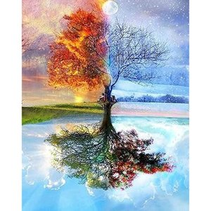 5D Diamond Painting by Number Kits for Adults Four Season Tree Full Drill Diamond for Home Wall Decor