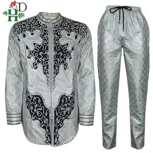HD uomini africani vestiti dashiki pantaloni della camicia vestito per gli uomini ricamo top pantalone lungo stabilito di camicia a maniche sud africa abbigliamento