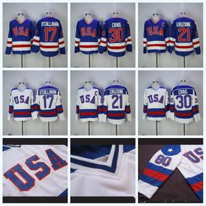 Mens 17 Jack O'Callahan 1980 Equipo Olímpico de EE.UU. hockey jerseys 21 Mike Eruzione 30 Jim Craig EE.UU. Milagro en Alternate Jersey Año de la vendimia