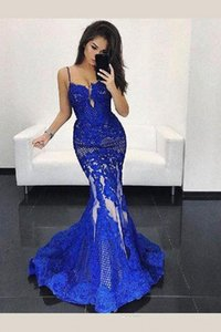 2020 royal blue mermaid prom dresses with lace applique sexy formal evening dresses party wear robes de mariée