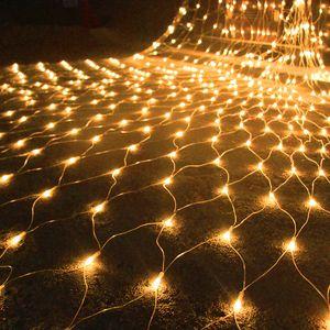 1.5Mx1.5M 3Mx2M 3Mx3M 6Mx4M 10Mx8M LED Red de malla Luz de la secuencia de hadas Jardín al aire libre Patio Ventana Cortina Navidad Boda Vacaciones Guirnalda