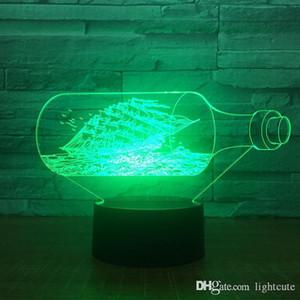 Le Black Pearl Bateau Bateau Decor 3D Night Light acrylique Lampe LED 7 couleurs Changement chevet jouet pour les enfants de Noël cadeau Drop Shipping