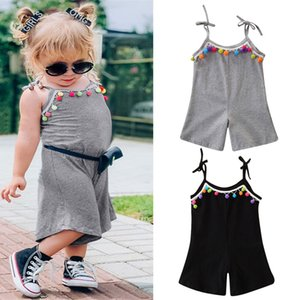 Summer Toddler Infant Kids Baby Girls Sleeveless Cotton Fashion Tassel Suspender Romper Jumpsuit Playsuit Outfits Clothes
