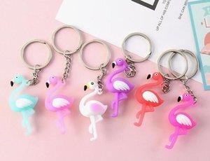 2000pcs 3D Cartoon Cute Chaveiro Flamingo Keychain Cute Animal Car Keyring Ring Bag Keychain Small Pendant R312