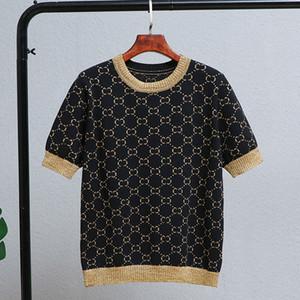 Marke Art und Weise Frauen High-End-Luxus-Frühling und Herbst Alphabet Gold Seide gestrickt kurzärmelige Pullover Top Tees