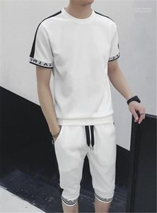 Designer manica corta da uomo Tute O Collo Slim Vintage Mens 2PCS Sportswear Abbigliamento maschile Stripe Stampa