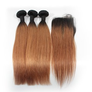 Ombre Straight Human Hair Bundles With Lace Frontal Closure 1B 27 1B 30 1B Purple 1B 99J Ombre Hair Weaves With Closure